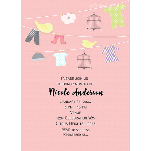 Birds on a Clothing Wire Pink Baby Shower Invitations