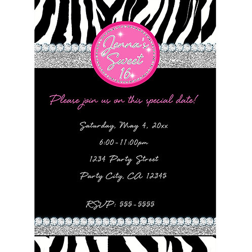 Sparkle Bling Diamonds Zebra Print Black and Pink Party Invitations