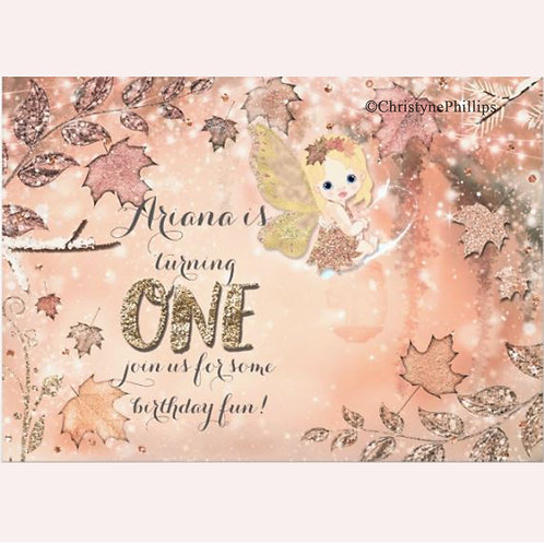 Glitter Leaves Winter Fall Fairy Party Invitations