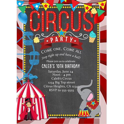 Chalkboard Chalk Circus Carnival Birthday Party Invitations