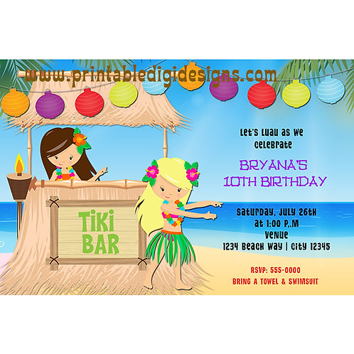 Hula Girls at The Beach Tropical Summer Birthday Party Invitations