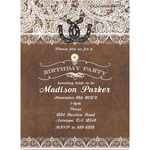 Rustic Brown Horseshoes and Lace Elegant Country Birthday Party Invitations