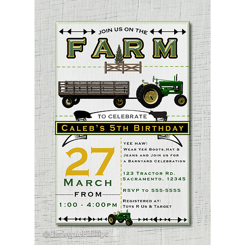 Farm Barnyard Tractor White Wood Birthday Party Invitations