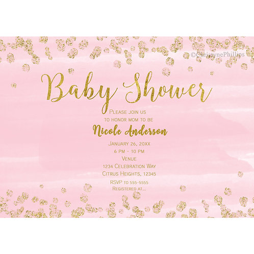 Blush Pink and Gold Confetti Modern Typography Baby Shower Invitations
