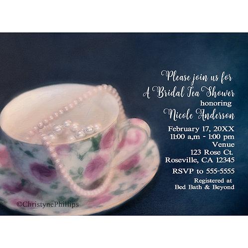Painted Rose Tea Cup & Pearls Elegant Bridal Shower Invitation
