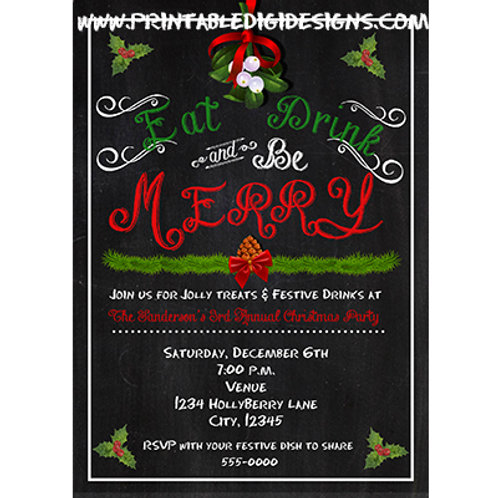 Eat Drink and Be Merry Chalkboard Christmas Party Holiday Invitations