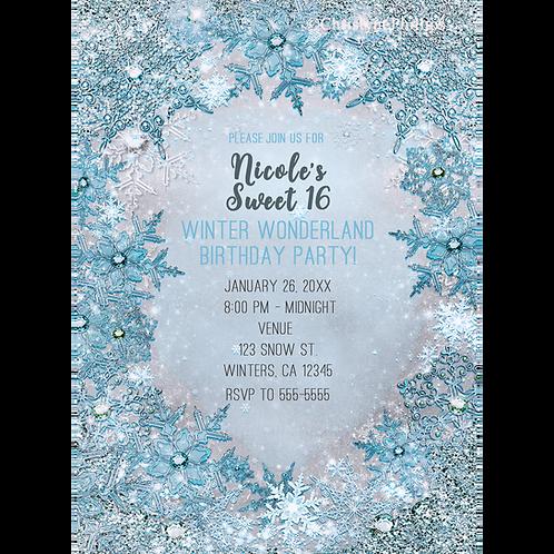 Winter Wonderland Glitter & Snowflakes Elegant Silvery Blue Invitations