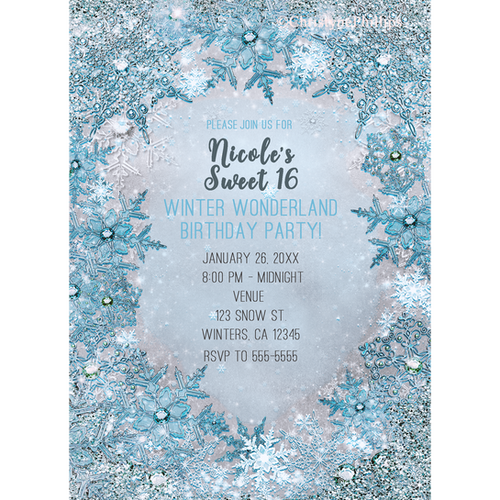 63c7e5abad2c Winter Wonderland Glitter & Snowflakes Elegant Silvery Blue Invitations