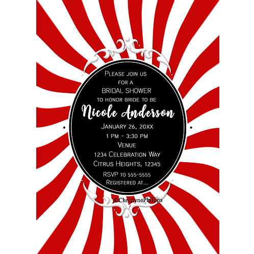 Fun Whimsical Red and White Stripes Circus Carnival Birthday Party Invitations