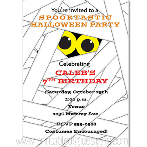 Kids Cute Mummy Halloween Costume Party Invitations