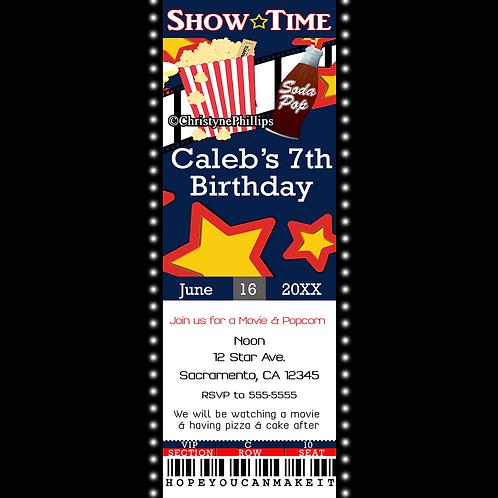 Showtime Movie Cinema VIP Ticket Birthday Party Invitations