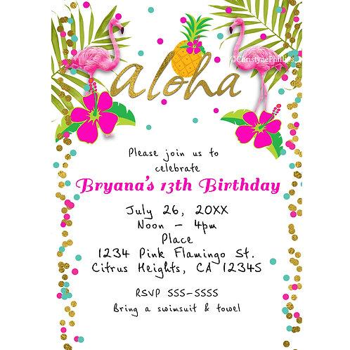 Pink Flamingo Colorful Confetti Summer Birthday Party Invitations
