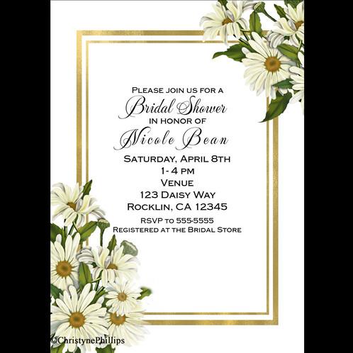 daisies white gold elegant rustic chic bridal shower daisy invitations