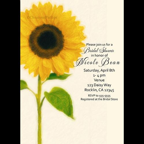 Big Sunflower Country Rustic Elegant Bridal Shower Invitations
