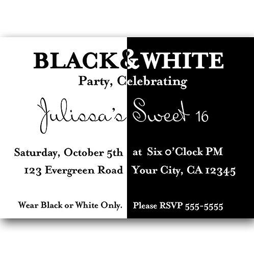 Black and White Elegant Birthday Party Invitations