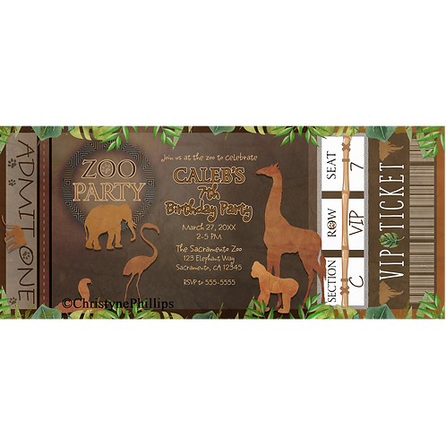 ZOO PARTY Brown Animals Birthday Party Ticket