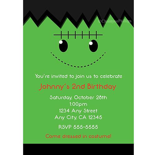 Green Frankenstein Kids Halloween Costume Party Invitations