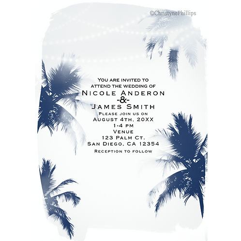 Dreamy Palm Trees White Glamour Chic Wedding Invitations