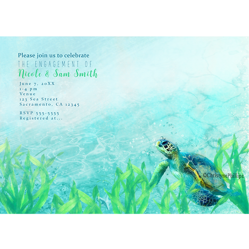 Sea Turtle Beach Ocean Elegant Tropical Party Invitations