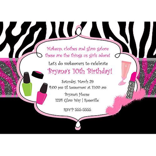Girls Zebra Print Makeup Dress up Personalized Birthday Party Invitations