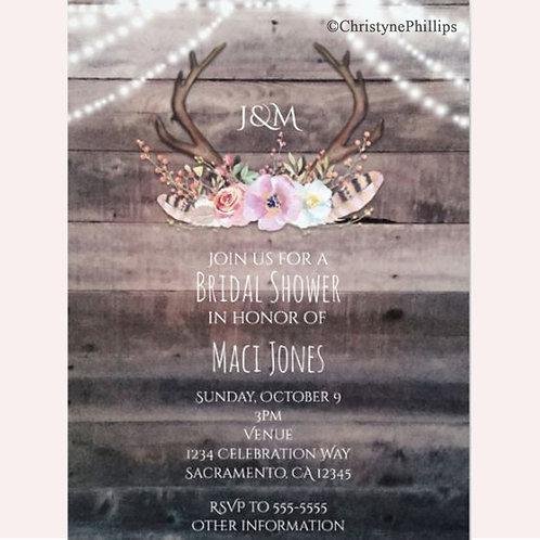 Floral Deer Antlers & String Lights Invitations