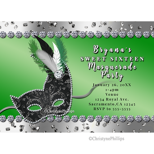 Silver and Green Masquerade Mask Party Invitations