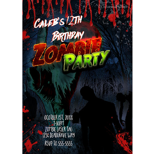 Zombie Hand Comic Birthday Halloween Personalized Party Invitations