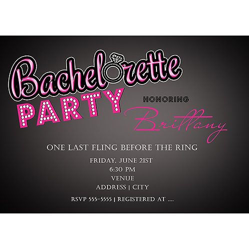 Bachelorette Party Pink and grey ModernEngagement Invitations