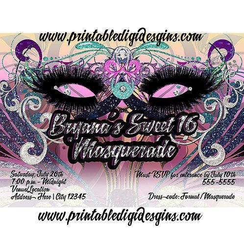 Glam Masquerade Birthday Party Invitations