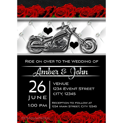 Red Roses and Chrome Motorcycle Bike Biker Wedding Invitations