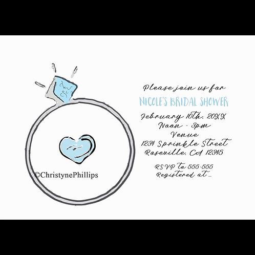Whimsical Engagement Ring Bridal Shower Invitation