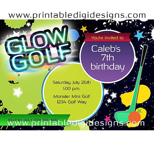 Glow Golf Birthday Party Miniature Golfing Custom Invitation