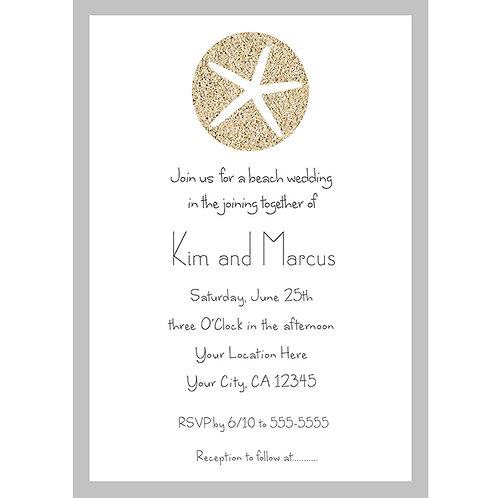 Elegant Starfish Sand Dollar Beach Wedding Engagement Party Invitations