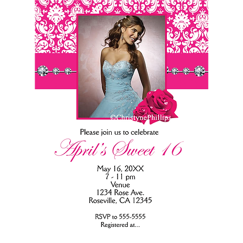 Hot Pink Roses & Damask Chic Sweet 16 Photo Birthday Party Invitations
