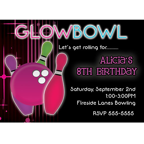 Glow Bowl Girls Bowling Birthday Party Invitations