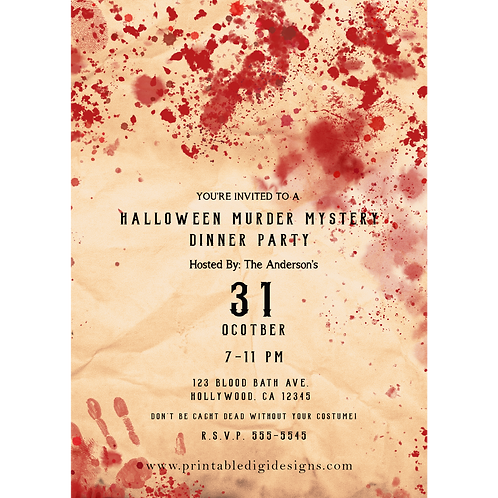 Bloody Vintage Gothic Halloween Murder Mystery Party