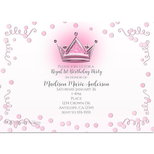 Pink and Silver Crown Birthday Party Confetti Invitation