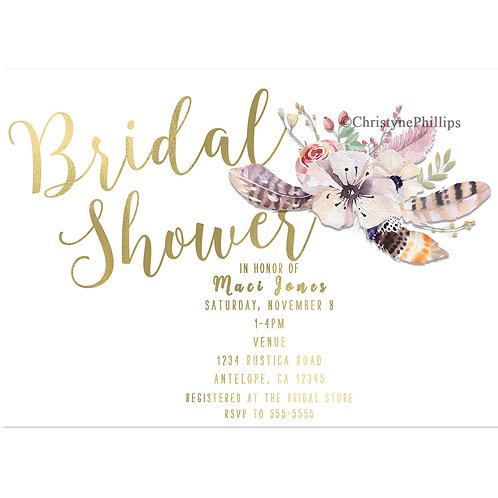 White Floral Boho Gold Bridal Shower Floral Feather Invitations