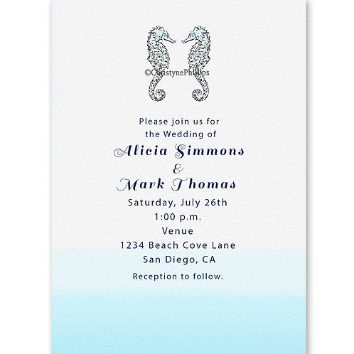 Two Seahorses Beach Dipped Blue Wedding Invitations
