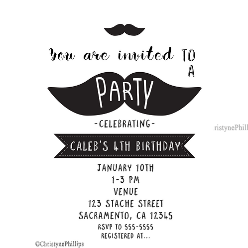 Mustache Black and White Modern Chic Barber Party Invitations