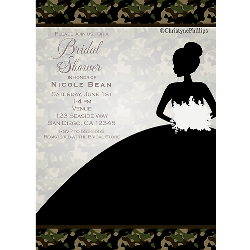 Camouflage Bride Black Dress Bridal Shower Wedding Invitations