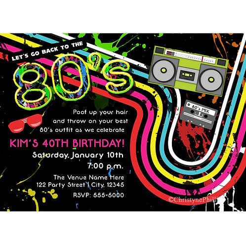 Awesome 80's Grungy Birthday Party Invitations