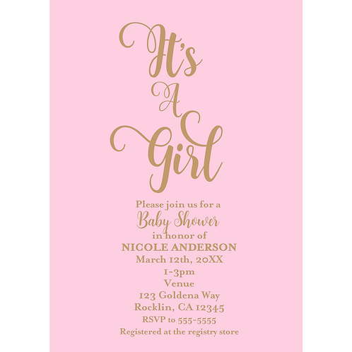 It's a Girls Pink &Gold Modern Baby Shower Invitations