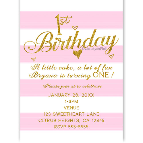 1st Birthday Pink White And Gold Hearts Girls Party Invitations