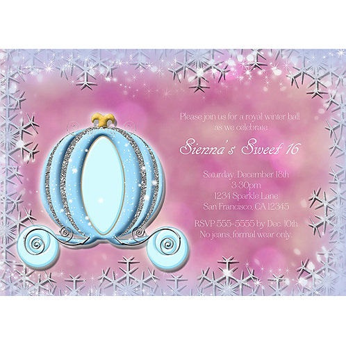 Pink WInter Snowflakes Cinderella Carriage Princess Party Invitations
