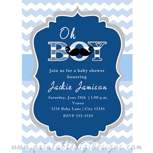 oh BOY Mustache and Blue Baby Shower Party Invitations