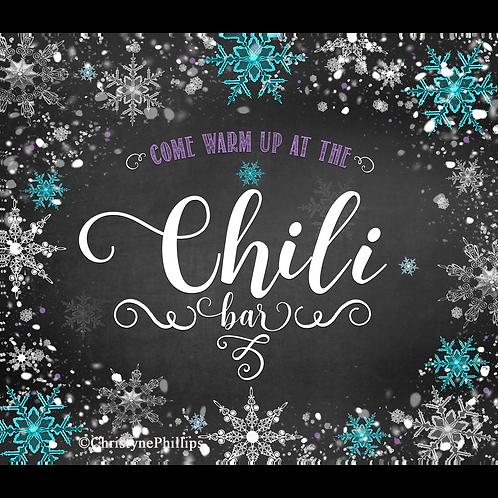 Winter Wonderland Chalk Purple & Teal Chili Bar Buffet Table