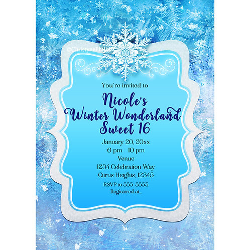 Frozen Ice Winter Wonderland Blue Snowflake Sweet 16 Party Invitations
