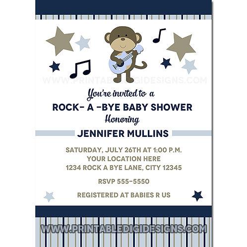 Rock Star Monkey Baby Shower Party Invitations