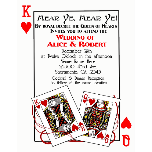Playing Card King and Queen of Hearts Wedding Engagement Party Invitations